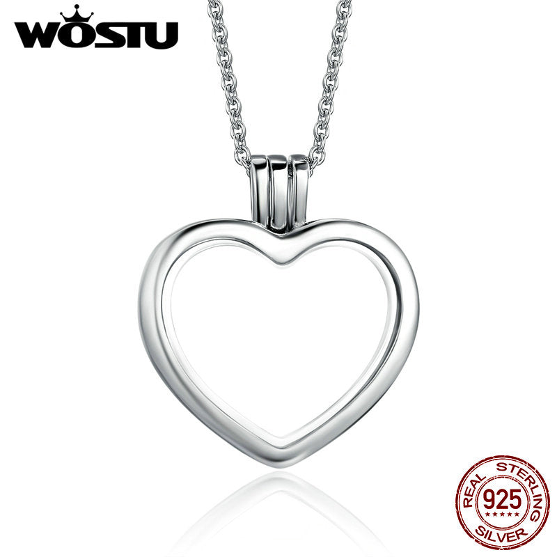 Sterling silver floating heart pendant necklace for women mozeypictures Image collections