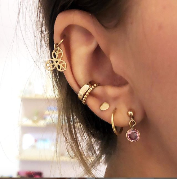 Golden Dark Pink Spinell Stud