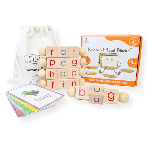 "Little Bud Kids - ""Spin and Read"" Blocks & CVC Flashcard Set"