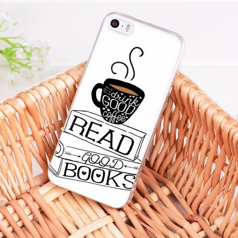 "Mon Cocon de Lecture Coque iPhone ""Books and Coffee"" pour Apple iPhone X, 8, 8 Plus, 7, 7 Plus, 6, 6s, 6s Plus, 5, 5s, 5c, 4, 4s iPhone 4 4s"