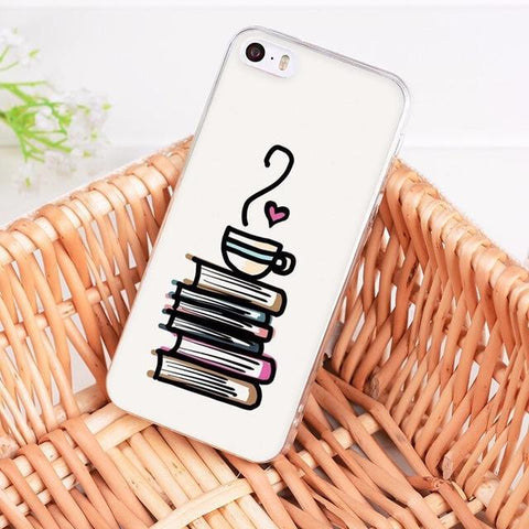 "Mon Cocon de Lecture Coque iPhone ""Café et Pile de Livres"" pour Apple iPhone X, 8, 8 Plus, 7, 7 Plus, 6, 6s, 6s Plus, 5, 5s, 5c, 4, 4s iPhone 4 4s"