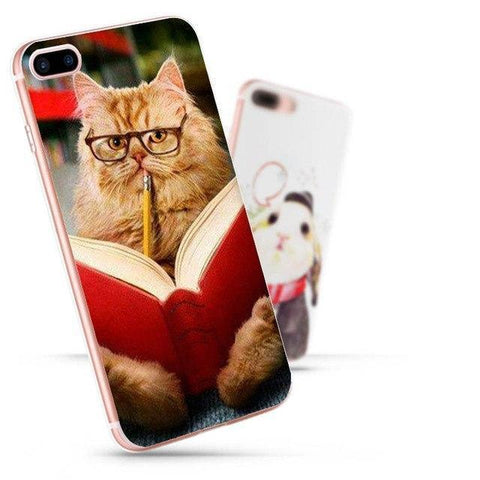 "Image of Mon Cocon de Lecture Coque iPhone ""Chat Lecteur"" pour Apple iPhone X, 8, 8 Plus, 7, 7 Plus, 6, 6s, 5, 5s, SE, 5c, 4, 4s iPhone 4 4s"