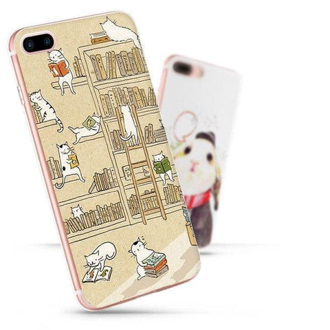 "Image of Coque iPhone ""Chats de Bibliothèque"" pour Apple iPhone X, 8, 8 Plus, 7, 7 Plus, 6, 6s, 5, 5s, SE, 5c, 4, 4s"