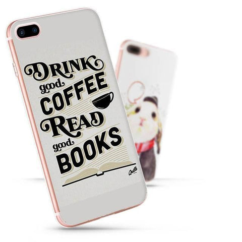 "Mon Cocon de Lecture Coque iPhone ""Drink Good Coffee, Read Good Books"" pour Apple iPhone 7, 6, 6s, 5, 5s, SE, 5c, 4, 4s iPhone 4 4s"