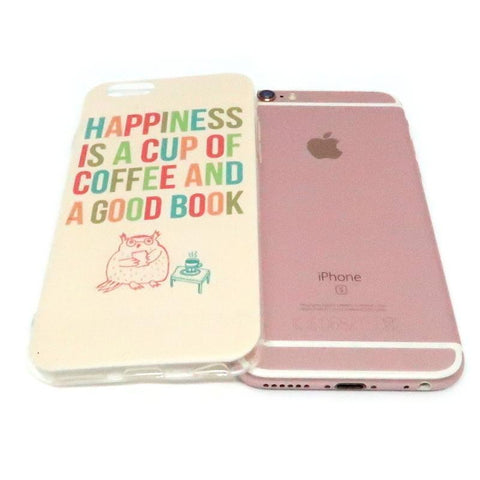 "Coque iPhone ""Happiness is a Cup of Coffee and a Good Book"" pour Apple iPhone X, 8, 8 Plus, 7, 7 Plus, 6, 6s, 6s Plus, 5, 5s, 5c, 4, 4s"