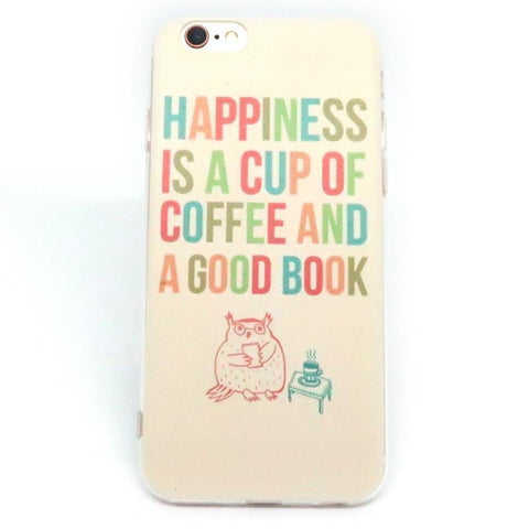 "Image of Mon Cocon de Lecture Coque iPhone ""Happiness is a Cup of Coffee and a Good Book"" pour Apple iPhone X, 8, 8 Plus, 7, 7 Plus, 6, 6s, 6s Plus, 5, 5s, 5c, 4, 4s"