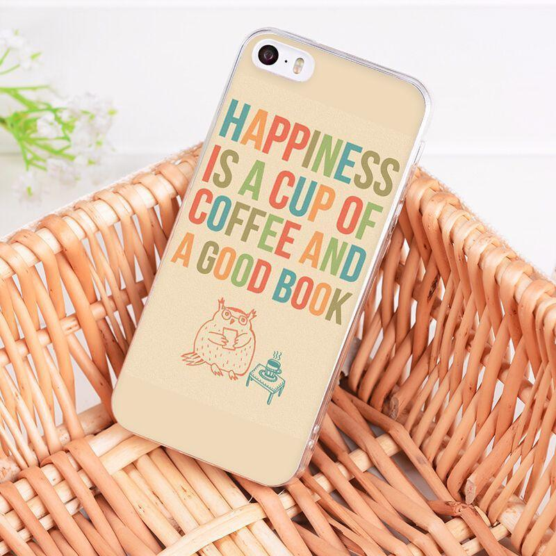 "Mon Cocon de Lecture Coque iPhone ""Happiness is a Cup of Coffee and a Good Book"" pour Apple iPhone X, 8, 8 Plus, 7, 7 Plus, 6, 6s, 6s Plus, 5, 5s, 5c, 4, 4s iPhone 4 4s"