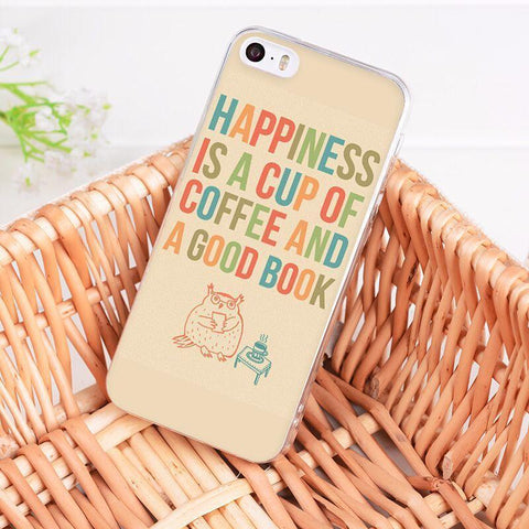 "Image of Mon Cocon de Lecture Coque iPhone ""Happiness is a Cup of Coffee and a Good Book"" pour Apple iPhone X, 8, 8 Plus, 7, 7 Plus, 6, 6s, 6s Plus, 5, 5s, 5c, 4, 4s iPhone 4 4s"