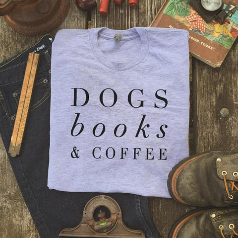 "Mon Cocon de Lecture T-Shirt Femme ""Dogs, Books & Coffee"" Gris / XS"
