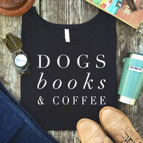 "Image of Mon Cocon de Lecture T-Shirt Femme ""Dogs, Books & Coffee"" Noir / XS"