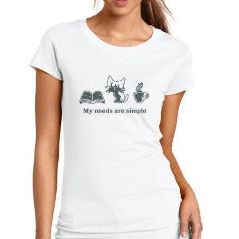 "Image of Mon Cocon de Lecture T-Shirt Femme ""My Needs are Simple: Book, Cat, Coffee"" Blanc / Gris / S"