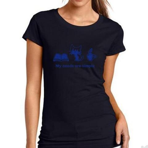 "Image of Mon Cocon de Lecture T-Shirt Femme ""My Needs are Simple: Book, Cat, Coffee"" Noir / Bleu / S"