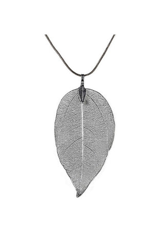 Silver Leaf and Bird Necklace