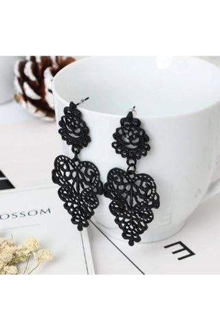 Black Crystal Long Drop Earrings