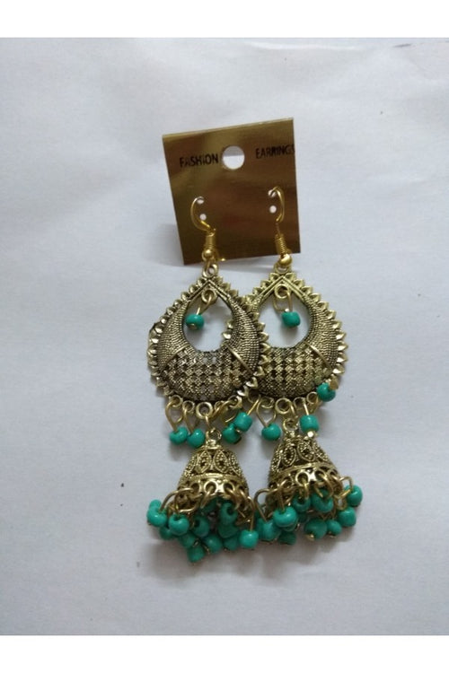 ethnic-jhumka-earrings-green-brass