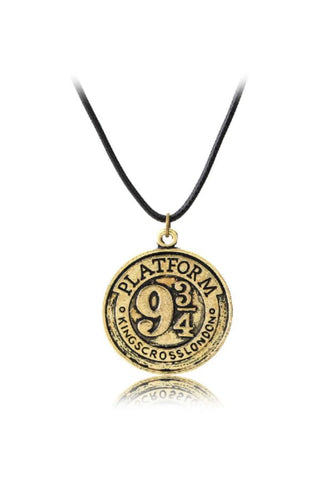 Gold Harry Potter School Badge Necklace
