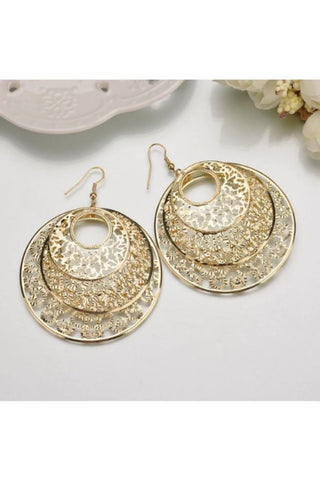 Gold Vintage Leaf Bohemian Earrings