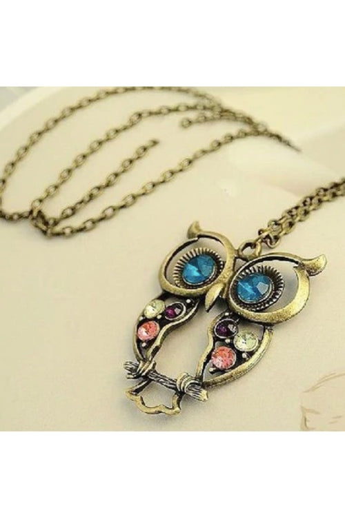 Retro Owl Pendant Necklace