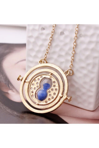 Gold Time Turner Necklace with Purple Sand