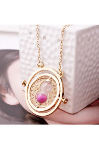 Gold Time Turner Necklace with Grey Sand