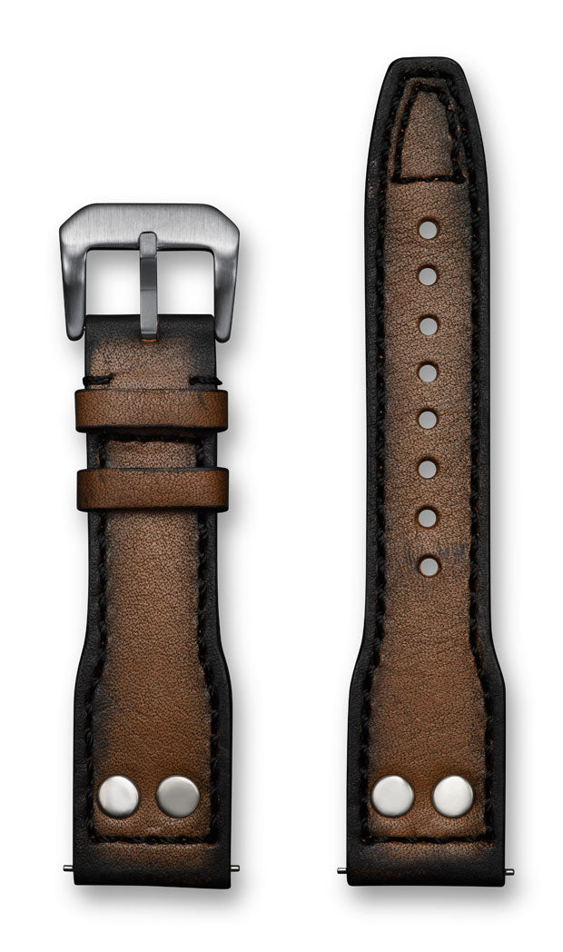 Aeromeister Amsterdam S47 Italian vintage oak wood brown leather strap with black stitching