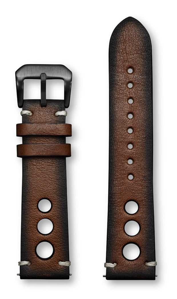 Aeromeister Amsterdam S40 Tan oiled Nagano brown leather strap with three holes