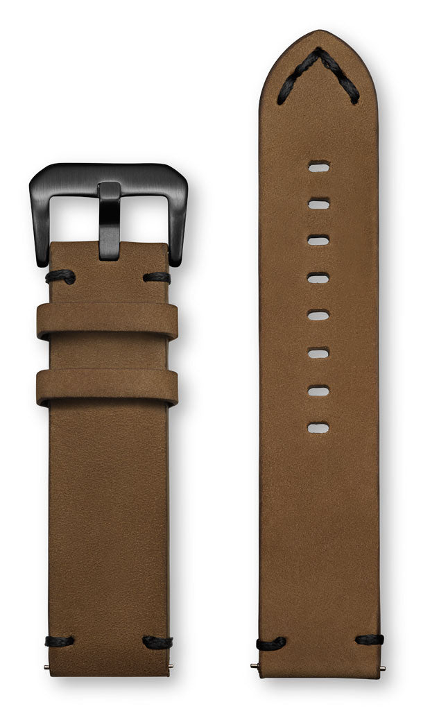Aeromeister Amsterdam S42 Vintage oil taupe nubuck leather strap with black handstitching