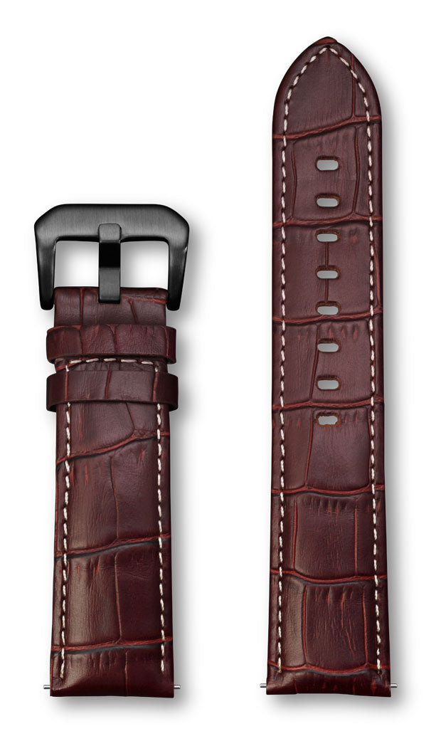 Aeromeister Amsterdam S15 Semi shiny North American brown croco leather strap with cream stitching