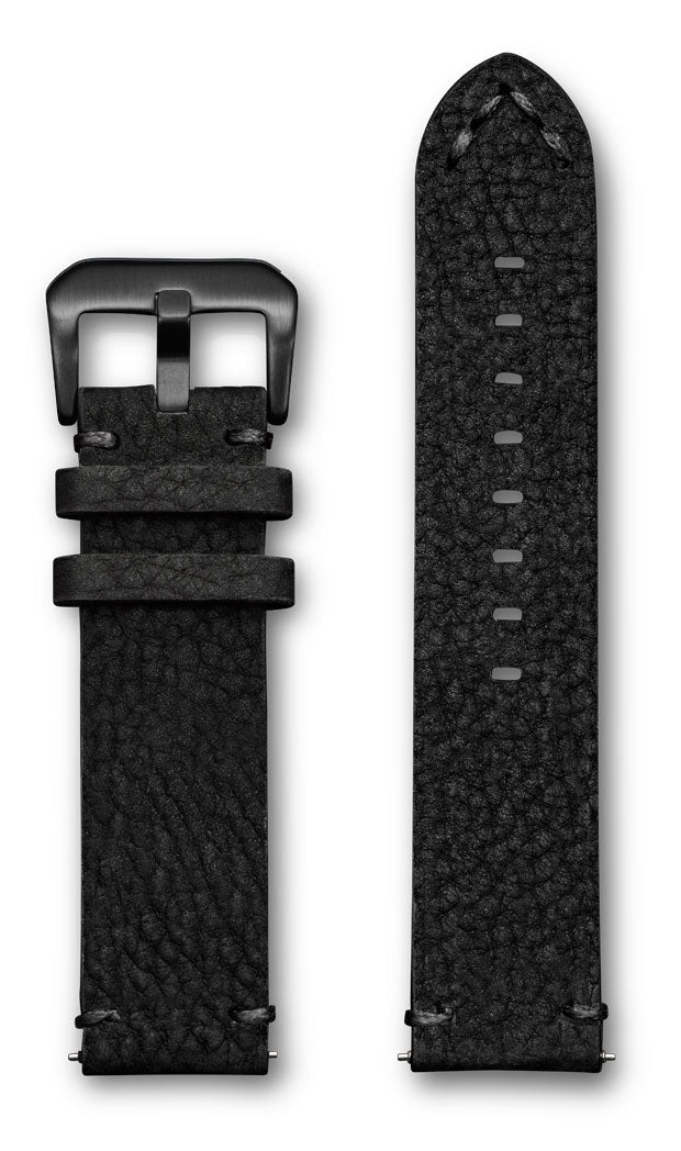 Aeromeister Amsterdam S43 Black nubuck buffalo leather strap with black handstitching