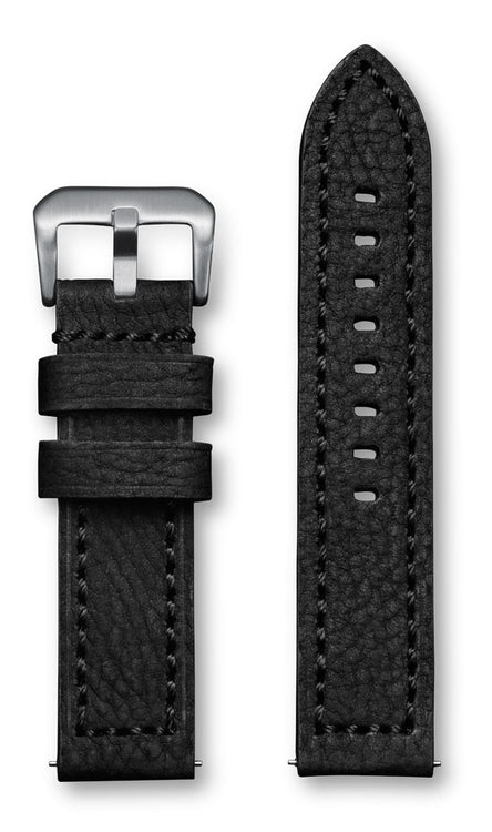 Aeromeister Amsterdam S35 Black nubuck buffalo leather strap with black stitching