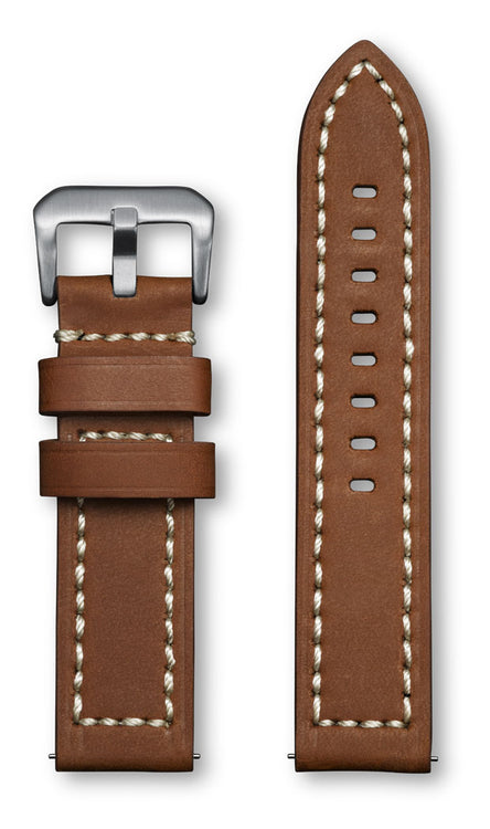 Aeromeister Amsterdam S10 Canyon Light brown leather strap with cream stitching