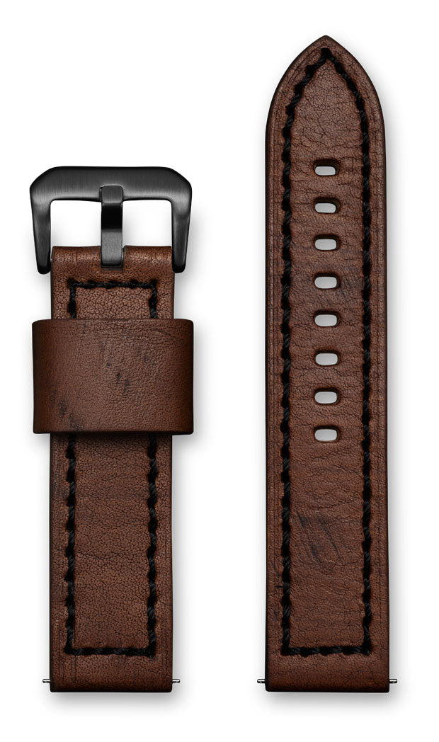 Aeromeister Amsterdam S26 Wood brown strap with black stitching