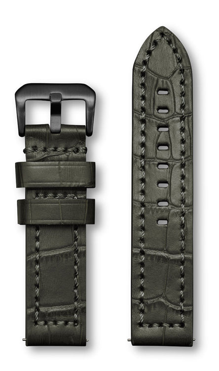 Aeromeister Amsterdam S39 Semi shiny North American grey croco leather strap with grey stitching