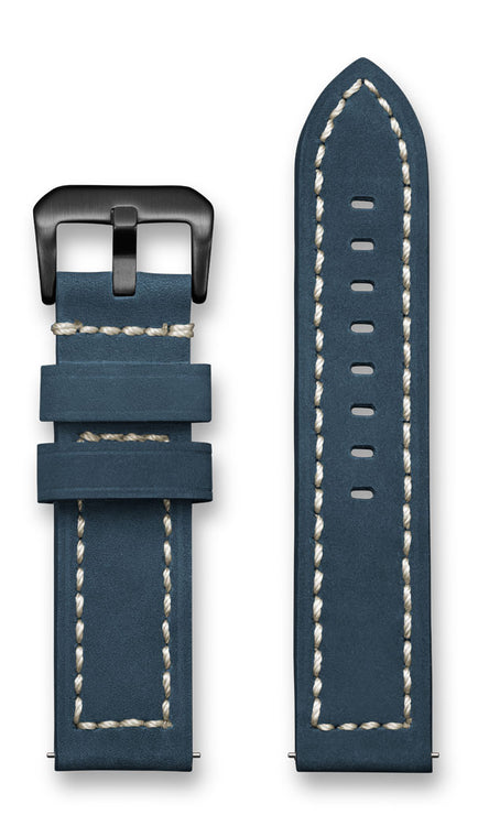 Aeromeister Amsterdam S37 Vintage dark blue nubuck leather strap with cream stitching