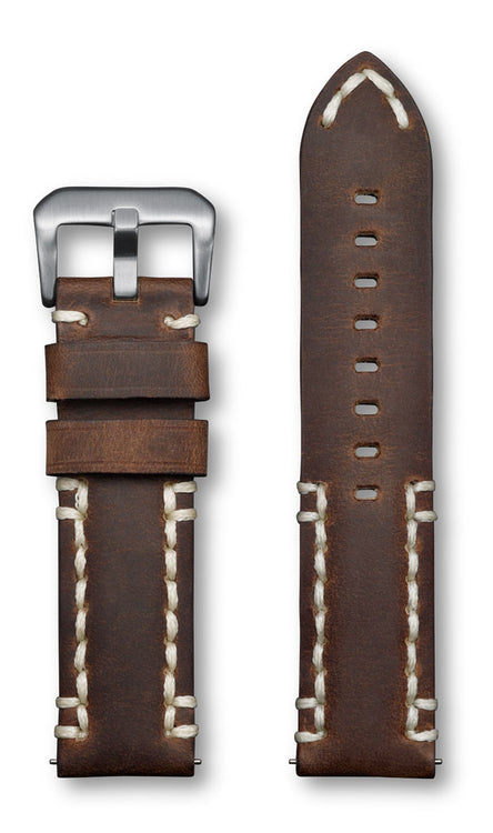 Aeromeister Amsterdam S21 Rodeo vintage brown leather strap with cream handstitching