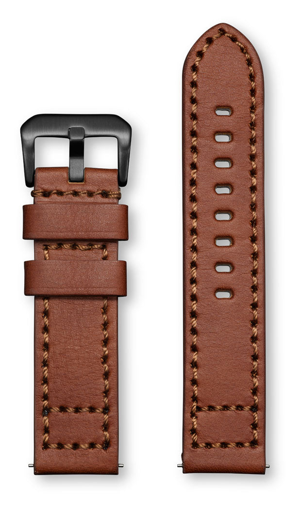 Aeromeister Amsterdam S44 Vintage oil medium brown nubuck leather strap with black stitching