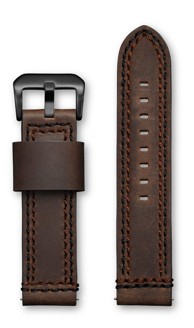 Aeromeister Amsterdam S36 Smooth jacket dark brown strap with black and brown stitching