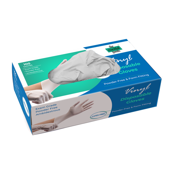 White Spindle Medical Vinyl Examination Gloves (100-Count) Latex Free Rubber | Disposable, Ultra-Strong, Clear | Fluid, Blood, Exam, Healthcare, Food Handling Use | No Powder