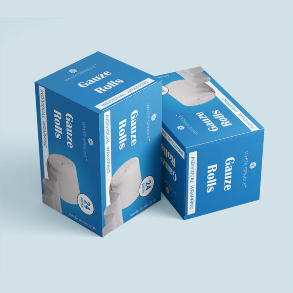 White Spindle 24 Pack Gauze Stretch Bandage Roll, Used for Wound Care, Easy to Use Cotton Ply Rolled Hand Wrap Dressing Ankles & Knees.