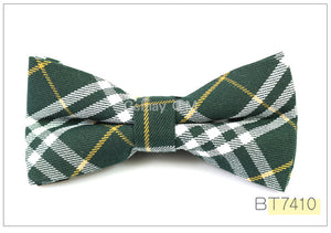 Olive Plaid Bow Tie