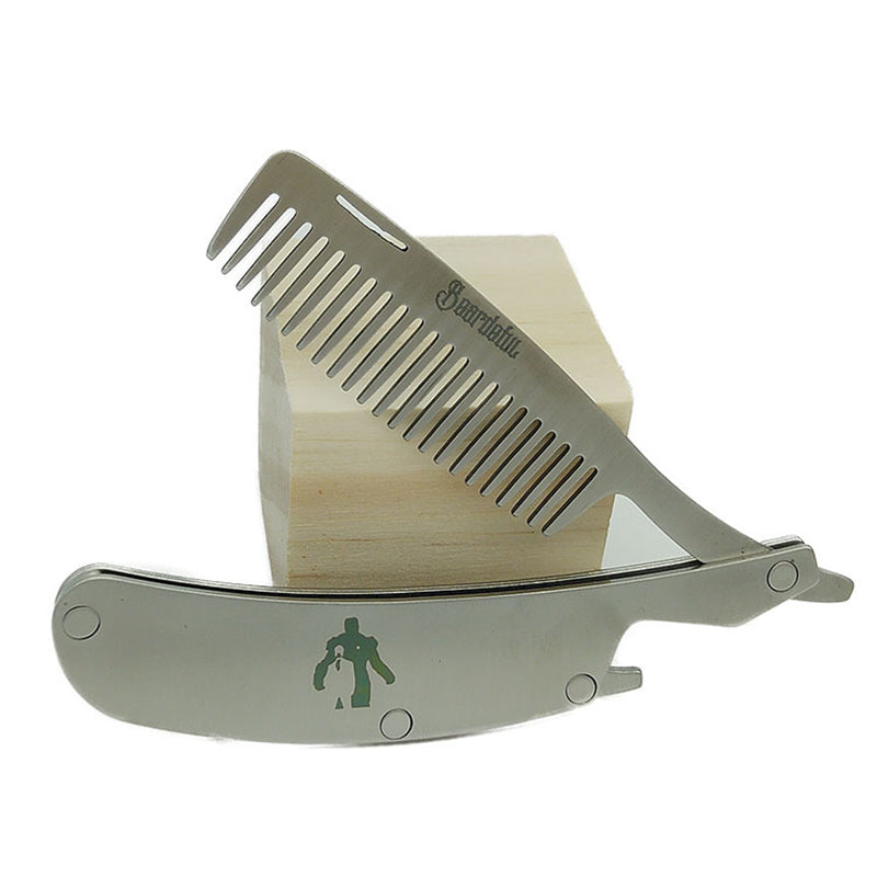Folding Stainless Steel  Beard Comb