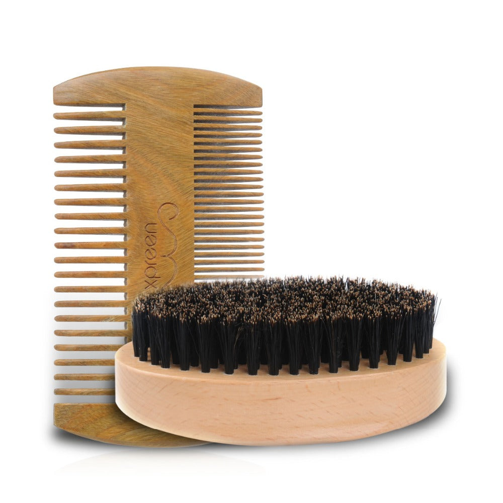 Handmade Sandalwood Beard Brush Kit