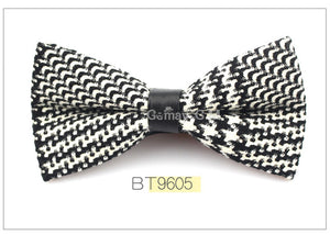 Black/White Plaid Bowtie