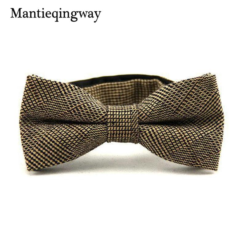 Tan Plaid Bowtie