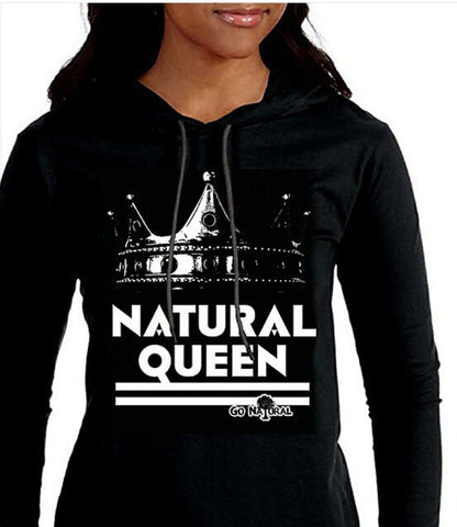 Natural Queen T-Shirt Hoodie (Black Hoodie)