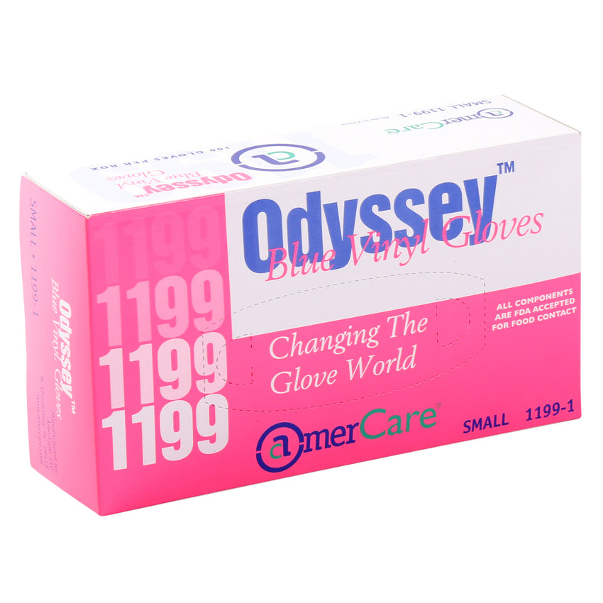 11991 | Glove, Odyssey Blue Vinyl, LP, Small, 100/Box - 10 Box/Case Inner Standing