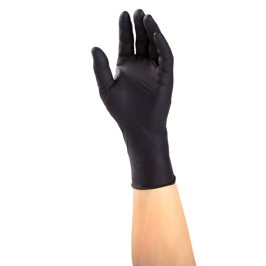 14000 | Glove, Exam Grade, Black Widow, Nitrile, PF, X-Small, 100/Box - 10 Box/Case Glove on Hand
