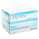 18991 | Glove, Odyssey Blue Vinyl, PF, Small, 100/Box - 10 Box/Case Case Front