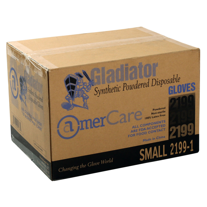 21991 | Glove, Gladiator Synthetic Stretch, Vinyl, LP, Small, 100/Box - 10 Box/Case Case Front