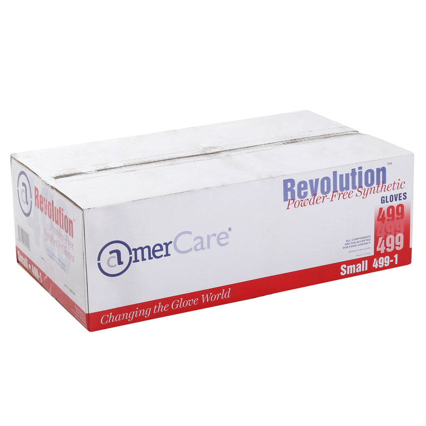 4991 | Glove, Revolution Blue Cast Poly, Textured, PF, Small, 100/Box - 10 Box/Case Case Front